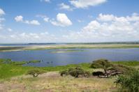 African landscape lake Amboseli Kenya