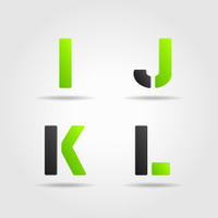 ijkl green stencil letters