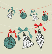 Merry Christmas decoration ribbon baubles.