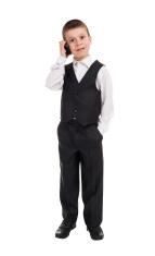 boy in suit talk on phone