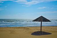 Wooden beach umbrella