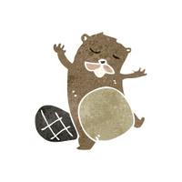 funny retro cartoon beaver
