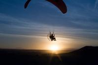 Powered paraglider sunset