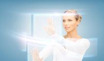 businesswoman touching virtual screen
