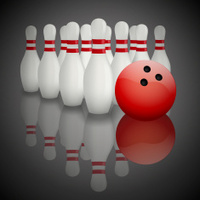 Bowling pins and ball with reflection