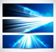 Abstract three headers blue wave vector illustration
