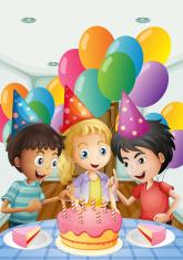 the three kids celebrating a birthday