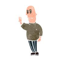retro cartoon anxious man