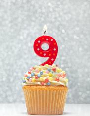Cupcake and number Nine