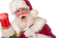 Real Santa Claus painting a nutcracker