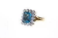 Aquamarine, diamond & gold