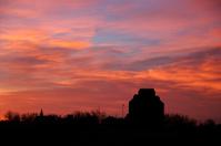 Prairie town silhouette