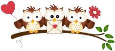 Cute Three Love Owls