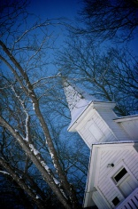 White Chapel on a snowy night