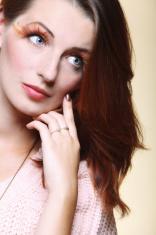 Autumn woman stylish creative make up false eye lashes