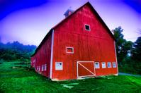 Digitally enhanced red barn.