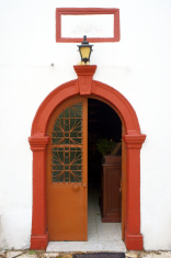 Red door to the church