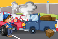 mechanic boy near the cars bumping