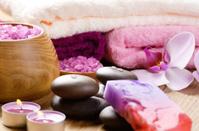 Spa lavender salt set on the wooden  table