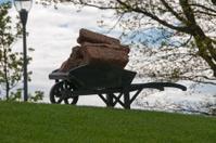 wheelbarrow with peat