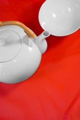 White japanese tea service on red silk background