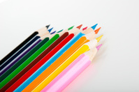 Variety of wooden color pencils, isolated