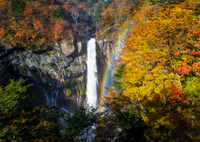 Kegon Waterfall in autumn with rainbow