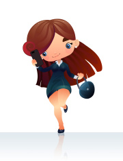 Operator girl with phone