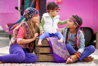 gipsy children playing outdoors