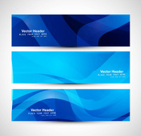 Abstract blue colorful header wave whit design