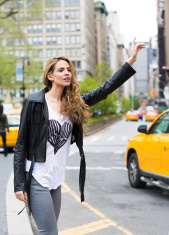 Hailing a Taxi in Union Square, New York City