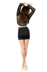 Slim brunette possing back