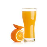 orange juice splash isolated on a white background