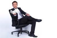 Businessman presents cloud technology