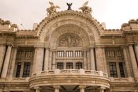 Closeup architecture and sculpture Palacio Bellas Artes Mexico C
