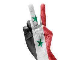 Syria Flag On Victory Hand