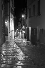 wet deserted street at night