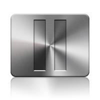 Pause button silver icon