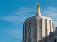 Oregon State Capitol Building Pioneer Man Salem Blue Sky