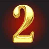Vector golden letter 2 on red
