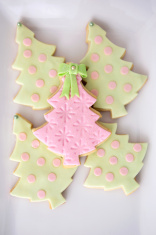 Fancy Pink and Green Christmas Tree Cookies