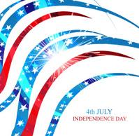 4th july american independence day flag celebration wave design