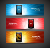 Smart phone three different colorful presentation website header