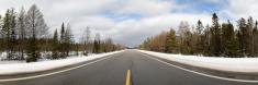 Panoramic Shot of Empty Straight Road