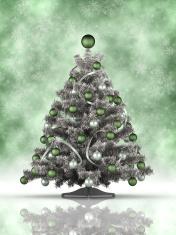 Xmas tree on green background