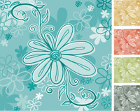 Pretty Flowery Square - 5 Colour Versions