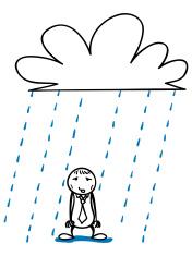 Poor guy in the rain