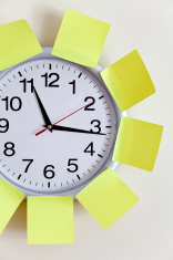 Clock and Adhesive Note