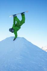 snowboarder handplant