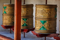 Buddhist prayer wheels. Diskit, Ladakh